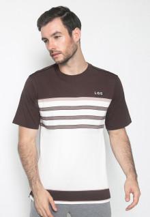 Kaos Casual - Warna Coklat Putih - Lengan Pendek - Motif Garis