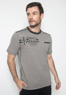 Kaos Active - Warna Grey - Lengan Pendek - Motif Garis-Garis