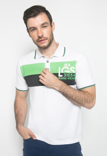 Kaos Fashion - Warna Putih - Lengan Pendek - Polo Tshirt