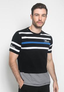 Kaos Fashion - Warna Hitam - Lengan Pendek - Motif Garis