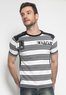 Kaos Fashion - Warna Putih Hitam - Lengan Pendek - Motif Garis