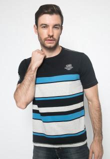 Kaos Fashion - Warna Hitam Biru - Lengan Pendek