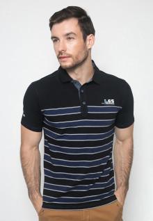 Kaos Fashion - Warna Hitam Biru - Lengan Pendek - Motif Garis