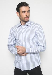 Kemeja Formal - Warna Putih Biru - Lengan Panjang
