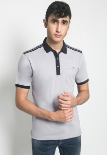 Kaos Polo - LGS - Motif Minimalis - Putih
