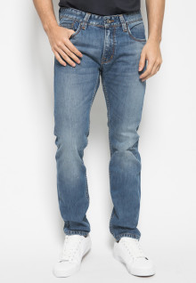Jeans Premium - Biru - Aksen Washed Full