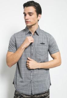 Kemeja Jeans - Abu - Kotak Garis Putih