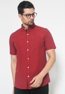 Kemeja Fashion - Merah - Kerah Shanghai