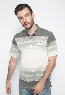 Kaos Polo - Putih - Motif Garis Horizontal