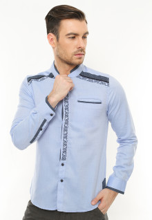 LGS - Slim Fit - Baju Koko - Motif Shoulder - Biru