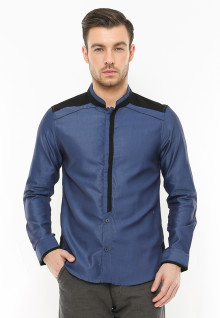 LGS - Slim Fit - Baju Koko - Two Tone Color - Biru