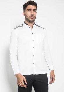 LGS - Slim Fit - Baju koko - Bordir Simetris - Kancing Hitam - Putih