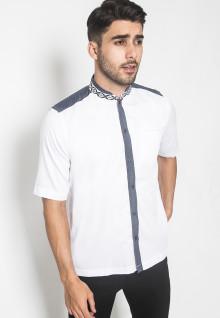 LGS - Regular Fit - Baju Koko - Lengan Pendek - Motif Bordir Navy - Putih