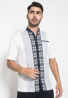 LGS - Baju Koko - Kemeja Koko - Koko Motif - Putih - Slim Fit