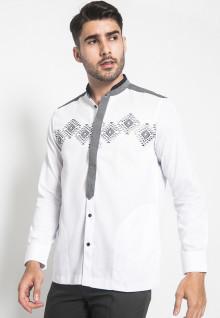 LGS - Regular Fit - Baju Koko - Lengan Panjang - Variasi Motif - Putih