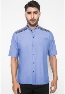 LGS - Regular Fit - Baju Koko - Bordir Simetris - Kantong Satu - Biru
