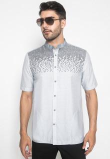 Johnwin - Baju Koko - Kemeja Koko - Full Corak - Putih - Slim Fit