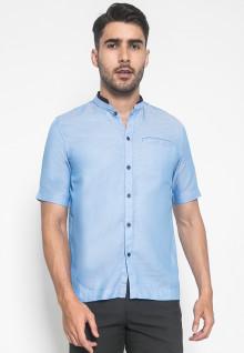 LGS - Slim Fit - Baju Koko - Ful Motif - Kantong Satu - Biru