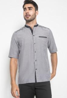 LGS - Regular Fit - Baju Koko - Lengan Pendek - Motif Bordir Simetris - Abu