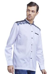 LGS - Slim Fit - Baju Koko - Motif Bordir Navy - Kancing Hitam - Putih