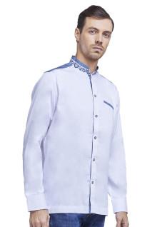 LGS - Slim Fit - Baju Koko - Aksen Bordir Abu - Motif Kotak Kecil - Putih