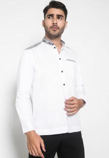 LGS - Regular Fit - Baju Koko - Kerah Bordir - Motif Kotak - Kantong Satu - Putih