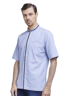 LGS - Baju Koko - Chest Pocket - Stripe Line - Biru