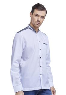 Baju Koko - Kemeja Koko - Koko Bordir - Motif Kotak - Putih - Slim Fit