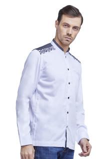Baju Koko - Kemeja Koko - Koko Bordir - Kombinasi - Putih - Slim Fit