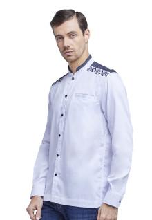 XXL - Baju Koko - Kemeja Koko - Koko Bordir - Kombinasi - Putih - Slim Fit