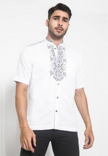 XXL - LGS - Slim Fit - Baju Koko - Lengan Pendek - Bordir Motif - Putih
