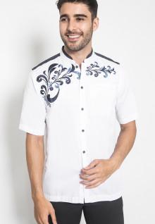 XXL - LGS - Baju Koko - Kemeja Koko - Koko Bordir Batik - Putih - Slim Fit