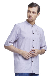 XXL - LGS - Baju Koko - chest embroidery - Light Purple