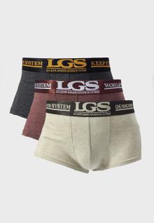 LGS Underwear - Boxer - Krem/Merah/Abu - 3 Pcs