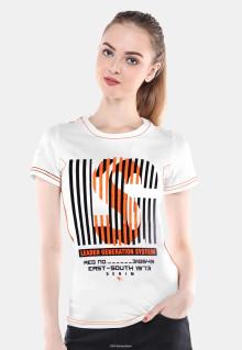 Slim Fit - Kaos Wanita - Putih - Sablon