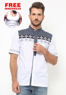 LGS - Baju Koko - Lengan Pendek - Motif Bordir - Colour Block - Putih