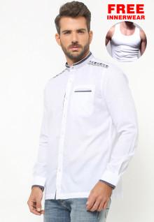 LGS - Baju Koko - Lengan Panjang - Motif Bordir - Putih