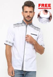LGS - Baju Koko - Lengan Pendek - Bordir Abu - Satu Kantong - Putih