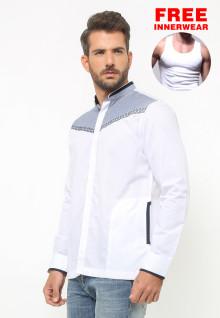 LGS - Baju Koko - Lengan Panjang - Bordir Abu - Putih