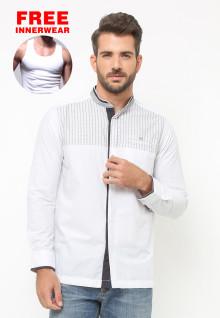 LGS - Baju Koko - Lengan Panjang - Motif Garis - Putih
