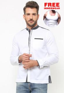 LGS - Baju Koko - Lengan Panjang - Motif Bordir Abu - Putih