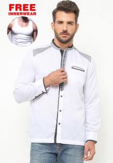 LGS - Baju Koko - Lengan Panjang - Bordir - Motif Placket - Putih