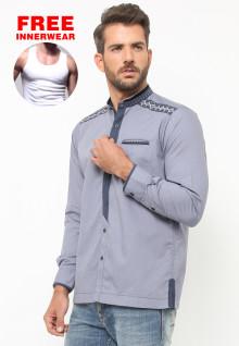 LGS - Baju Koko - Lengan Panjang - Bordir - Abu