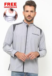 LGS - Baju Koko - Lengan Panjang - Bordir Hitam - Abu
