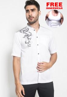 XXL - LGS - Baju Koko - Kemeja Koko - Koko Bordir - Satu Kantong - Putih - Slim Fit