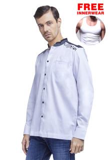 LGS - Slim Fit - Baju Koko - Motif Bordir - Kantong Satu - Putih