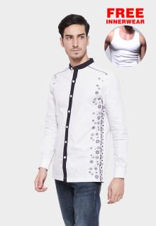 Johnwin - Baju Koko - Lengan Panjang - Aksen Ring - Putih - Motif Bordir