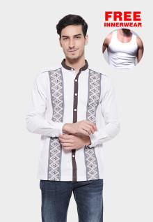 Johnwin - Baju Koko - Lengan Panjang - Motif Simetris - Putih