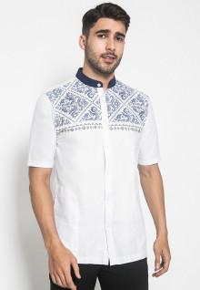 Johnwin - Baju Koko - Kemeja Koko - Motif Batik - Putih - Slim Fit