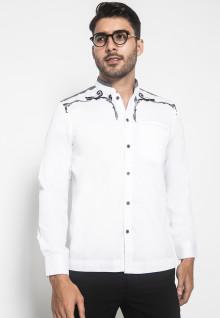 LGS - Slim Fit - Baju Koko - Bordir Halus - Kantong Satu - Putih